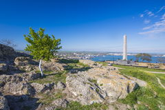 Landscape at point of interest Mitridat, Kerch city. Royalty Free Stock Images