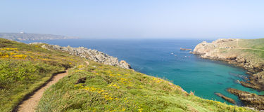 Landscape pointe du raz in brittany. Panoramic landscape pointe du raz in brittany Royalty Free Stock Images