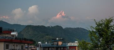Landscape with Pokhara rooftops on sunrise with Annapurna South, Hiunchuli and Machapuchare Fishtail Peaks in background. Himalay. A Mountains, Nepal stock image