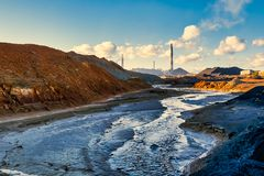 Landscape pollution of the environment emission of industrial plant, Karabash city Russia. Landscape pollution of environment emission of industrial plant royalty free stock photos