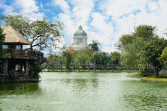 Landscape of a pond with Ananta Samakhom Throne Hall Royalty Free Stock Image
