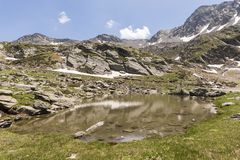 Landscape with a Pond in the Ordina Arcalis area in Andorra. Between France and Spain Stock Photography
