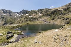Landscape with a Pond in the Ordina Arcalis area in Andorra. Between France and Spain Stock Photos