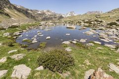 Landscape with a Pond in the Ordina Arcalis area in Andorra. Between France and Spain Stock Photo