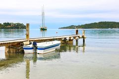 Landscape of Porto Heli beach Argolis Greece. Greek summer destination Royalty Free Stock Images