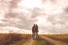 Landscape portrait of young beautiful stylish couple sensual and Stock Photography