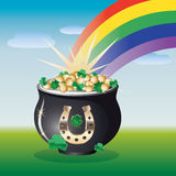 Landscape with pot of gold Royalty Free Stock Photos