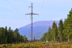 Landscape with power line. Mountains Stock Photography