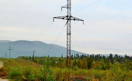 Landscape with power line. Mountains Royalty Free Stock Photography