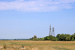 Landscape of power lines for electricity metal towers Stock Photo