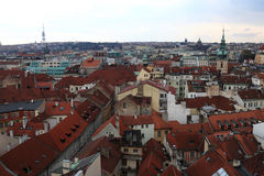 Landscape of Prague from astronomical clock tower Stock Image