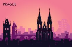 Landscape of Prague with sights. Abstract skyline vector illustration