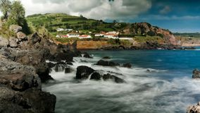 Landscape of Praia do Almoxarife beach at long shutter speed , Faial island, Azores, portugal