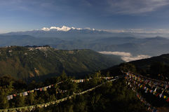 Landscape with prayer flags darjeeling himalaya Royalty Free Stock Image