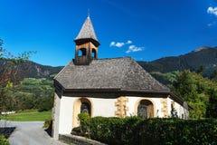 Landscape protection area Achstürze. Blasius chapel in Oetz-Piburg, alps in background. Stock Photos