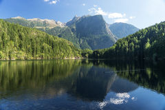 Landscape protection area Achstürze. Lake Piburger See, Tirol oldest nature preserves. Royalty Free Stock Photo