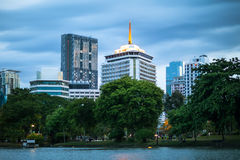 Landscape of public park and skyscraper in Bangkok Royalty Free Stock Images