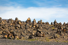 Landscape with Pyramids from stones, Iceland. Stock Image