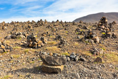 Landscape with Pyramids from stones, Iceland Royalty Free Stock Image