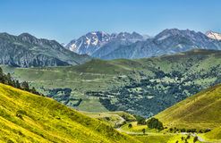 Landscape in Pyrenees Mountains. Beautiful landscape in Pyrenees mountains. In the distance there is Col de Val Louron Azet and the poit of view is on Col de Royalty Free Stock Images