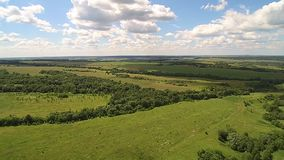 Landscape with quadrocopters stock footage
