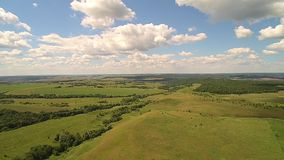 Landscape with quadrocopters stock video