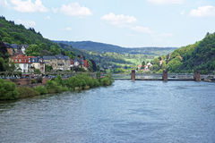 Landscape of Quay and dam on Neckar river in summer Heidelberg. Landscape of Quay and dam of Neckar river in summer Heidelberg european city Royalty Free Stock Photo