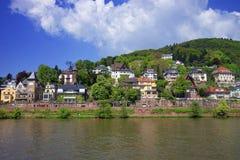 Landscape of Quay of Neckar river in summer Heidelberg Stock Image