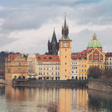 Landscape of quay in Prague Stock Photo
