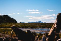 Landscape from quebec with mountains and blue sky royalty free stock photo