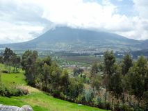 Landscape Quito suburbs. View of the mountains and farmland surrounding Quito, Ecuador, South America Royalty Free Stock Images