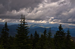 Landscape of Radocelo mountain with dark clouds before a storm Royalty Free Stock Photos