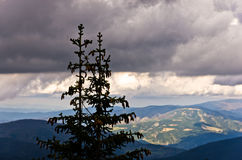 Landscape of Radocelo mountain with dark clouds before a storm Stock Photos