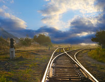 Landscape with railroad rails Stock Photography