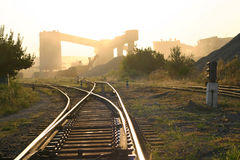 Landscape with railroad rails Royalty Free Stock Image