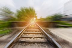Landscape of railroad tracks with motion blur effect Stock Photos