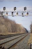 Landscape with  railroad and  traffic signal Stock Photos