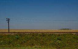 Landscape of a railway on a road trip. Landscape of the railways and a bi-dimensional look at the grass, at the sky and also at the grains royalty free stock photos