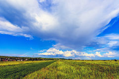 A landscape with a rain and a rainbow. Royalty Free Stock Image