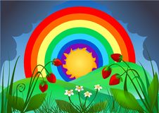 Landscape with rainbow. Illustration of landscape with rainbow and strawberry Stock Images