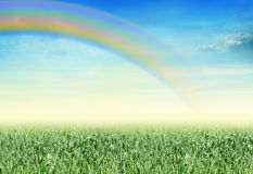 Landscape with rainbow. Beatiful landscape with a rainbow Royalty Free Stock Photos