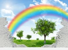 Landscape with rainbow in broken wall Royalty Free Stock Image