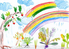 Landscape with rainbow. child drawing. Royalty Free Stock Photo
