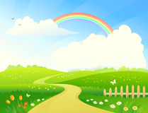 Landscape with rainbow. Illustration of a hilly scenic with a rainbow stock illustration
