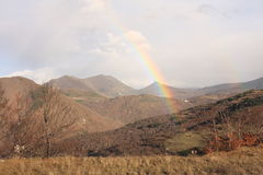 Landscape and rainbow in Pyrenees Royalty Free Stock Photo