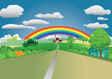Landscape with rainbow. Landscape with road trees and rainbow Stock Photos