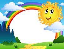 Landscape with rainbow and Sun 2. Vector illustration Royalty Free Stock Image