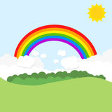 Landscape with rainbow and sun. Vector illustration.  Stock Images