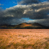 Landscape of rainy windy mountain landscape Royalty Free Stock Photo