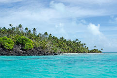 Landscape of Rapota Island in Aitutaki Lagoon Cook Islands Royalty Free Stock Photo